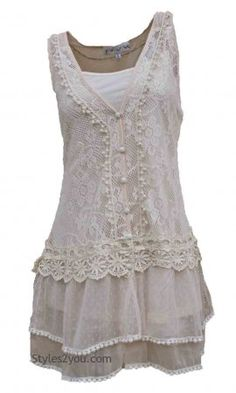 Lady Chantal Vintage Victorian Lace Top, Two Pieces In Carmel