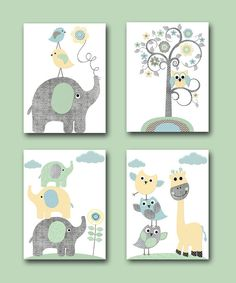 Télécharger instant ART Digital Download imprimé bébé garçon pépinière Art Kids Room Decor Childrens Art impression Set de 4 11 8 X 10 X 14 bleu jaune gris