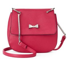 Candie's® Sabrina Crossbody Saddle Bag ($20) ❤ liked on Polyvore featuring bags, handbags, shoulder bags, red, purse shoulder bag, red hand bags, handbags shoulder bags, handbag purse and red crossbody