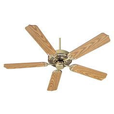 "Quorum International Q77525 Capri I 52"" 5 Blade Hanging Indoor Ceiling Fan with Polished Brass - Oak Blades Fans Ceiling Fans Indoor Ceiling Fans"