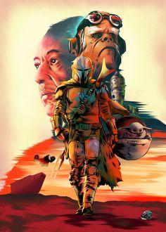 Star Wars Pictures, Star Wars Images, Mandalorian Poster, Star Wars Wallpaper, Games Images, Poster Series, Geek Art, Star Wars Art, Print Artist