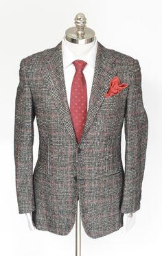Love that subtle pink, in this KITON Cipa 1960 Gray Plaid Alpaca Wool 2Btn Coat Jacket!     Get in there! http://www.frieschskys.com/blazers     #frieschskys #mensfashion #fashion #mensstyle #style #moda #menswear #dapper #stylish #MadeInItaly #Italy #couture #highfashion #designer #shopping