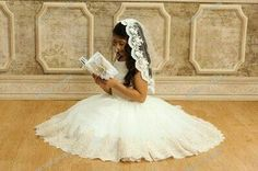 First Communion veil for confirmation or baptism, Catholic communion veil with beaded lace, flower girl's veil Catholic Communion, Catholic Veil, First Communion Veils, Girls Communion Dresses, First Communion Party, First Holy Communion, Communion Banners, Communion Decorations, Baptism Decorations