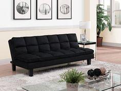 Pillow-Top Futon Couch, Black
