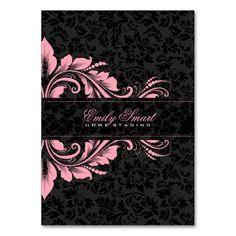 Elegant Black Damasks Pink Floral Ornament 2 Business Cards