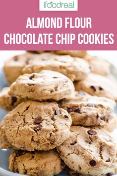 Almond Flour Chocolate Chip Cookies are uber easy and delicious. Thick, with a bit of crunch and chewiness, this recipe is always doubled in our house. Real Food Recipes, Baking Recipes, Cookie Recipes, Yummy Food, Keto Recipes, Sweet Recipes, Healthy Recipes, Healthy Sweets, Healthy Baking