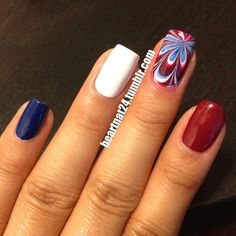 Not into overkill? Set an accent nail among solids for a punch of patriotism.   36 Amazing DIY-Able Manicures For The 4th Of July