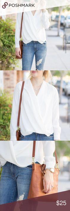 White blouse Flows, overlapping blouse. White, long sleeve Tobi Tops Blouses
