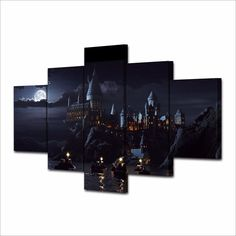 Harry Potters Hogwarts School - 5 Panels Framed Canvas Wall Art Home Decor | eBay