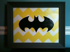 painted the yellow zig zag using a home-made stencil and cut batman logo out of black card stock and modge podge
