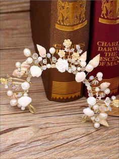 The bride jewelry European starfish pearl hairbands conch shells marriage yarn studio crown headdress wedding hair accessories Bride Headband, Crown Headband, Wedding Headband, Bridal Crown, Bridal Tiara, Headbands, Mermaid Headpiece, Mermaid Crown, Wedding Headdress
