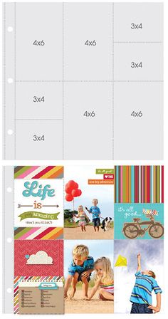 Simple Stories - SNAP Studio Collection - Page Protectors - Four 6 x 4 Four 3 x 4 Inch Photo Sleeves - Fits 12 x 12 Three Ring Albums - 10 P...