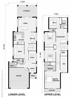 House Plans, Home Designs, Building Prices & Builders, Small Lot House Plans — Building Buddy Two Storey House Plans, Narrow Lot House Plans, New House Plans, Dream House Plans, House Floor Plans, Building Plans, Building A House, Narrow House Designs, Villa Plan