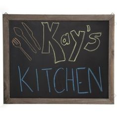 The Lucky Clover Trading Rustic Brown Wooden Chalkboard Display Sign for Wall, Medium Wide