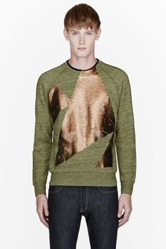 PAUL SMITH  Green & Bronze painted sweatshirt