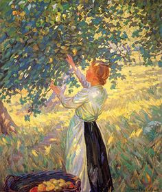 The Apple Gatherer by Helen Galloway McNicoll - this painting reminds me of picking apples as a child with my mother.