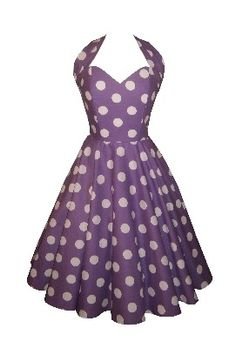 LOVE THIS!! <3 'Siren in Purple' - Full circle 'Simone' halterneck in huge white polka dots on purple cotton. 1950s style vintage dress. £55. (Also available to pre-order in baby pink and baby blue)