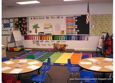 Here's a peek into my classroom when I taught Pre-K It was setup for 24 students in a full day pre-kindergarten program. Classroom Layout, Classroom Setting, Classroom Design, Classroom Organization, Classroom Decor, Preschool Rooms, Kindergarten Classroom, Prek Literacy, Pre Kindergarten