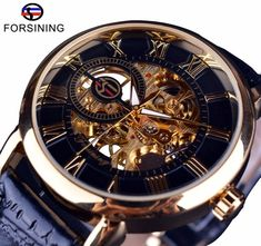 Low Price $16.79, Buy Forsining Men Watches Top Brand Luxury Mechanical Skeleton Watch Black Golden 3D Literal Design Roman Number Black Dial Clock