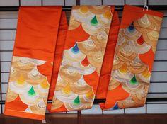 Obi, Free Shipping, Orange Silk Obi, Old Stock, Vintage Japanese Fukuro Obi, For…