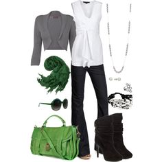 white with green, created by riictr on Polyvore