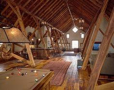 Attic Design Ideas: make use of what's already there for a cool, rustic looking space. Not a cape cod exactly, but I like the concept