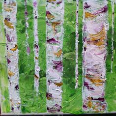 """""""Aspen Grove"""" Here's a painting I did for my little sister, Joy. Done in acrylic on canvas with palette knives. I like how it gives you the feeling of entering an Aspen thicket on a spring evening,"""