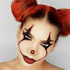 it clown artistry quick easy halloween makeup ideas inspo inspiration looks So scary and yet amazing! – Halloween Make Up Ideas as much as I hate clown make up, this makeup is awesome. 30 Of The Creepiest Halloween Makeup Ideas – Style O Check Beauty Halloween Makeup Girl, Maquillage Halloween Clown, Amazing Halloween Makeup, Halloween Makeup Looks, It Halloween Costume, Halloween Inspo, Halloween Face Paint Scary, Scary Face Paint, Clown Face Paint