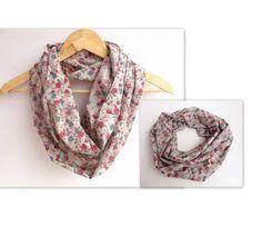 cotton scarf, floral infinity scarf .loop scarf , Eternity scarf .Circle scarf . Tube scarf  Loop scarf . Snood infinity loop women scarves