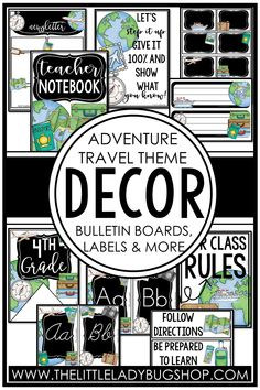 Get ready for back to school with the Adventure Travel decor theme! This editable set is fun, unique, and has everything you need to decorate your classroom with a cohesive look. The perfect DIY bundle for any elementary classroom, including posters, name plates, alphabet posters, teacher notebook, organization labels, bulletin board decor, and more! #thelittleladybugshop