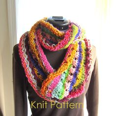 Knit Scarf Pattern pdf Rainbow Infinity Scarf Knitting by GraceG2