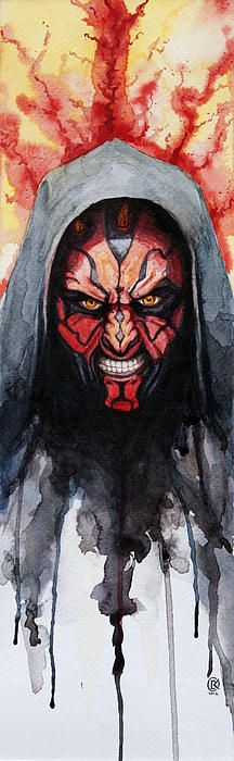 Darth Maul Water Color Painting by David Kraig