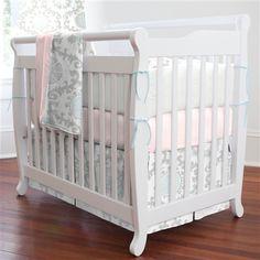 Pink and Gray Rosa Portable Crib Bedding | Carousel Designs