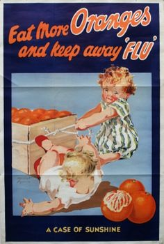 Eat More Oranges, 1930s - original vintage poster by Muriel Harris listed on AntikBar.co.uk