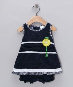 Navy & White Sunflower Dress & Bloomers - Infant