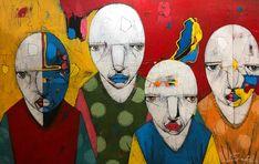Four Faces One Blue by Michael Banks Michael Banks, Atlanta Art, Outsider Art, Black Art, Contemporary Artists, Painting On Wood, Art Museum, Framed Art, Folk Art