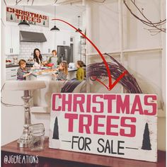 Christmas Trees For Sale Sign inspired by sign seen in Joannas Gaines Kitchen on Fixer Upper  2 SIZES AVAILABLE! 4 feet long x 12 tall similar