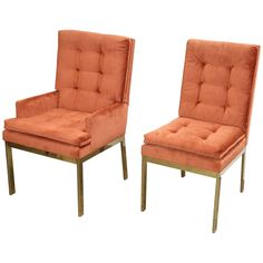 Set of Six Brass and Orange Chenille Dining Chairs by Milo Baughman for DIA | From a unique collection of antique and modern side chairs at https://www.1stdibs.com/furniture/seating/side-chairs/