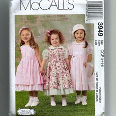 McCall's Girls' Dress, Pinafore and Petticoat Pattern 3949 by NewAgain on Etsy