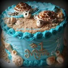 Ammie West make this for Me! Sea Turtle Cake Really? Someone knows what passions are :) Ocean Cakes, Beach Cakes, Fancy Cakes, Cute Cakes, Beautiful Cakes, Amazing Cakes, Cake Cookies, Cupcake Cakes, Turtle Birthday Parties
