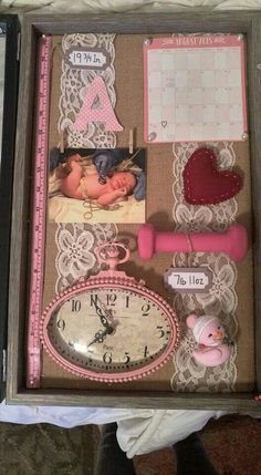 New baby girl nursery organization newborns shadow box Ideas Newborn Shadow Box, Shadow Box Baby, Girl Shadow, My Bebe, Baby Memories, Baby Keepsake, Everything Baby, Baby Time, Baby Crafts
