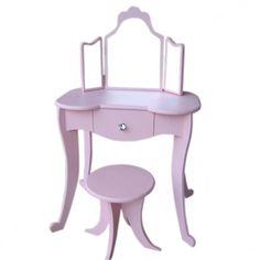 Girls Dressing Table in Pink Kids Bedroom, Bedroom Decor, Pink Furniture, Dressing Table, Vanity, Pastels, Girls, House, Decor Ideas