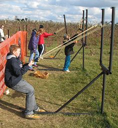 Try your aim with the pumpkin slingshot at Nauman's Farm, Corn Maze and Pumpkin Patch, St. Clements, Ontario.