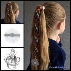 Six strand ribbon braid with three ribbons and a flower from the webshop www.goudhaartje.nl This braid is inspired by @miriamtogether (instagram).  #6strandribbonbraid #6strandbraid #ribbonbraid #ribbon #braid #braids #ponytail #hairideas #hair #hairstyle #hairinspiration #hairaccessories #haar #vlecht #haarstijl #haaraccessoires #vlechten #beautifulhair #longhair #mooihaar #langhaar #cute #lovely #sweet #hairstylesforgirls #kingsday #koningsdag #goudhaartje
