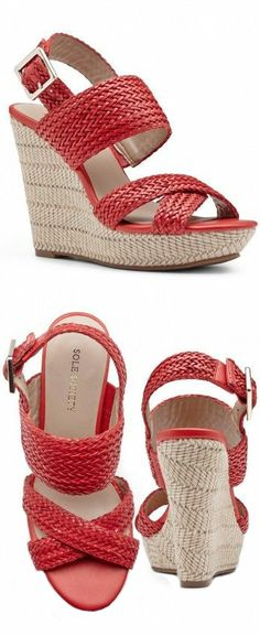 Hot Coral Woven Wedges ♥