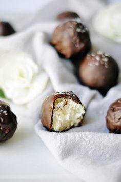 salted dark chocolate coconut bites recipe