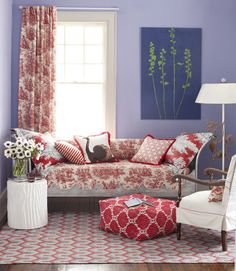 Periwinkle and red damask room
