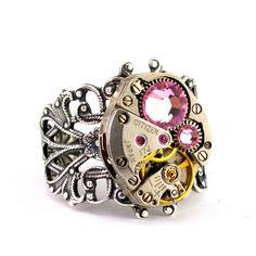 Steampunk Ring - Gorgeous Clockwork Design & Rose Pink Swarovski Crystals
