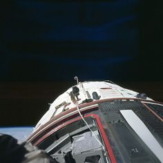 Astronaut Edwin E. Aldrin Jr., pilot of the Gemini-12 spaceflight, took this picture of the Gemini-12 spacecraft during standup extravehicular activity (EVA) with the hatch open. This is a view to the rear showing the adapter section. Image #: s66-62920 Date: November 13, 1966