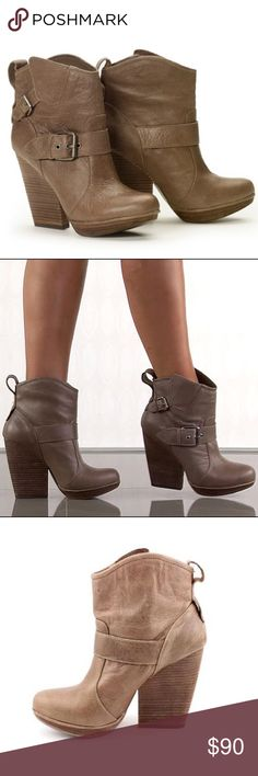 DV by Dolce Vita Dempsey Booties LIKE NEW EXCELLENT CONDITION❣️ You'll be distinguished as a trendsetter in this DV by Dolce Vita style. Dempsey showcases a taupe leather upper with decorative buckles to give an edge to the western inspired bootie. A 3/4 inch platform and an extreme chunky 4 inch block heel will have you ooh-ing and ahh-ing. DV by Dolce Vita Shoes Ankle Boots & Booties